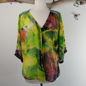 Anthropologie fig and flower floral sheer top